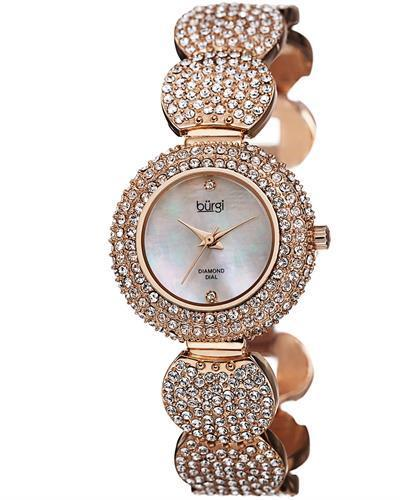 burgi BUR109 Brand New Swiss Quartz Watch with 0.01ctw of Precious Stones - crystal, diamond, and mother of pearl