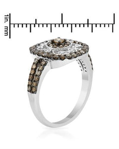Brand New Ring with 0.73ctw of Precious Stones - diamond and diamond 14K White gold