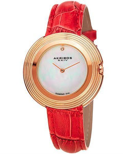 Akribos XXIV AK876RD Brand New Japan Quartz Watch with 0.01ctw of Precious Stones - diamond and mother of pearl