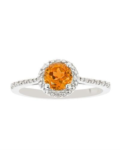 Brand New Ring with 0.71ctw of Precious Stones - citrine and diamond 925 Silver sterling silver