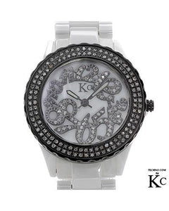 KC WA005232 Brand New Swiss Movement Watch with 0.5ctw of Precious Stones - crystal, diamond, and mother of pearl