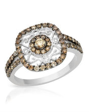 Load image into Gallery viewer, Brand New Ring with 0.73ctw of Precious Stones - diamond and diamond 14K White gold