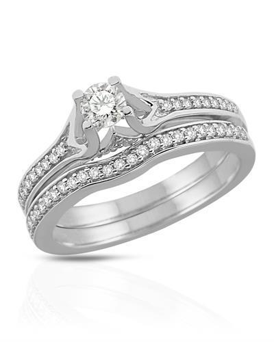Brand New Ring with 0.5ctw of Precious Stones - diamond and diamond 14K White gold