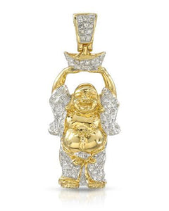 Brand New Pendant with 0.3ctw diamond 14K/925 Yellow Gold plated Silver