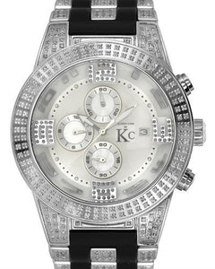 Techno Com by KC Brand New Japan Quartz date Watch with 2.1ctw of Precious Stones - diamond and mother of pearl
