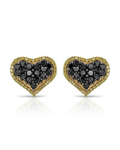 Lundstrom Brand New Earring with 1.1ctw of Precious Stones - diamond and diamond 10K Yellow gold