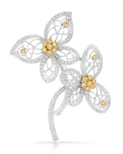 Brand New Brooch with 1.2ctw of Precious Stones - diamond and diamond 18K Two tone gold