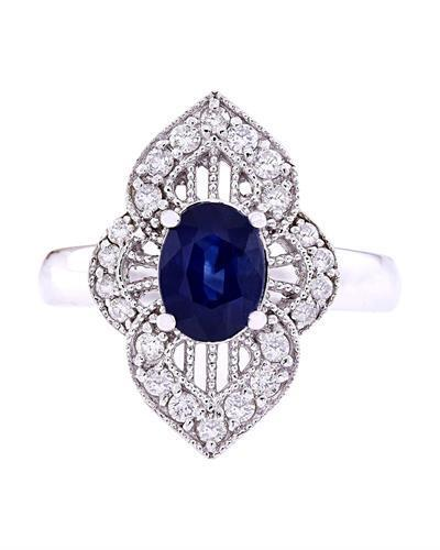 1.85 Carat Natural Sapphire 14K Solid White Gold Diamond Ring