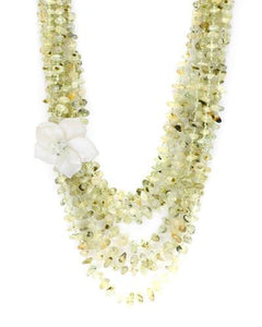 PEARL LUSTRE Brand New Necklace with 995ctw of Precious Stones - mother of pearl and prehnite