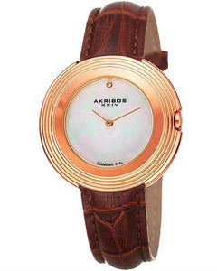 Akribos XXIV AK876RGBR Brand New Japan Quartz Watch with 0.01ctw of Precious Stones - diamond and mother of pearl