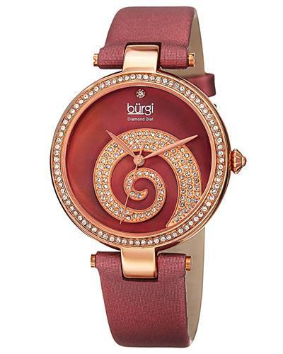 burgi BUR143BUR Brand New Quartz Watch with 0.01ctw of Precious Stones - crystal, diamond, and mother of pearl