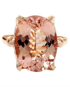 8.95 Carat Natural Morganite 14K Solid Rose Gold Diamond Ring