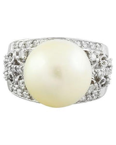 0.60 Carat Pearl 14K White Gold Doamond Ring