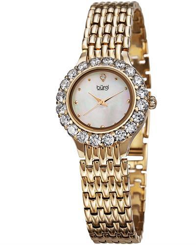 burgi BUR107 Brand New Swiss Quartz Watch with 0.01ctw of Precious Stones - crystal, diamond, and mother of pearl