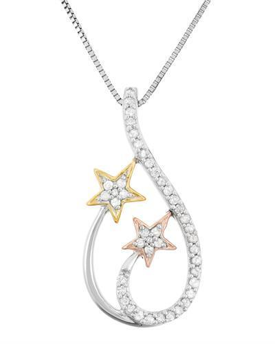 Brand New Necklace with 0.21ctw diamond 925 Three tone sterling silver