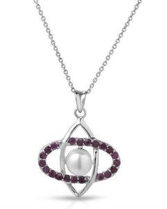 Brand New Necklace with 1.2ctw of Precious Stones - pearl and ruby 925 Silver sterling silver