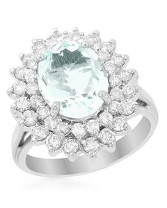 Brand New Ring with 3.85ctw of Precious Stones - aquamarine and diamond 14K White gold