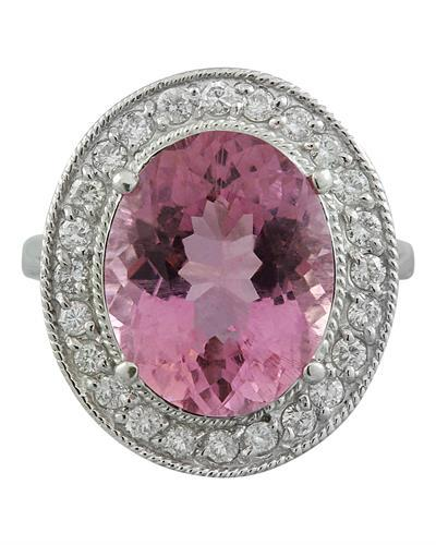 9.50 Carat Tourmaline 14K White Gold Diamond Ring