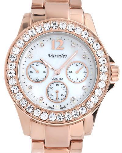 Varsales V4802-1 Brand New Japan Quartz Watch with 0ctw of Precious Stones - crystal and mother of pearl