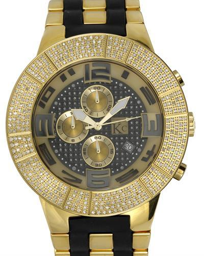 Techno Com by KC Brand New Japan Quartz date Watch with 1.5ctw diamond