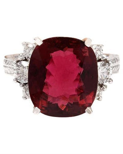 8.28 Carat Natural Tourmaline 14K Solid White Gold Diamond Ring