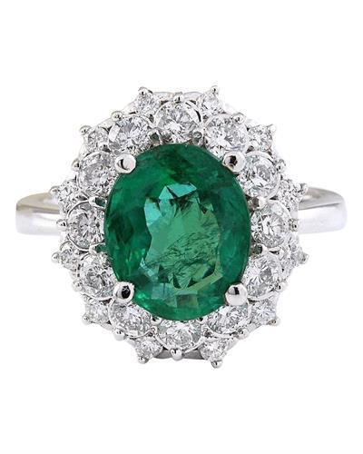 5.01 Carat Natural Emerald 14K Solid White Gold Diamond Ring