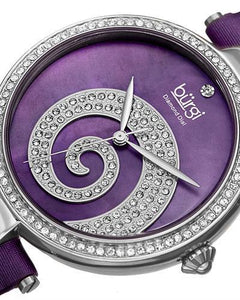 burgi BUR143PU Brand New Quartz Watch with 0.01ctw of Precious Stones - crystal, diamond, and mother of pearl