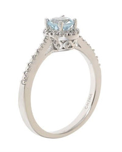Brand New Ring with 0.42ctw of Precious Stones - aquamarine and diamond 925 Silver sterling silver