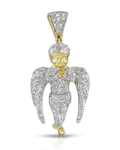 Brand New Pendant with 0.38ctw diamond 14K/925 Yellow Gold plated Silver