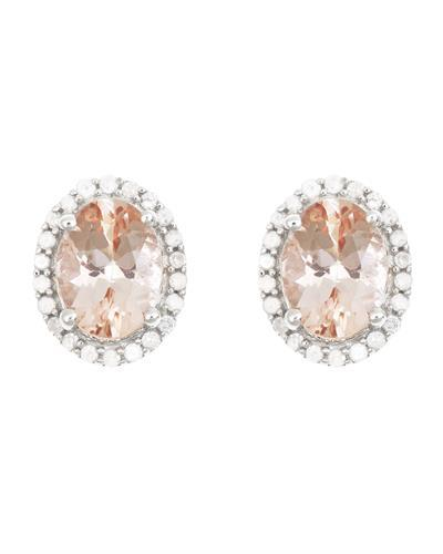 Brand New Earring with 2.32ctw of Precious Stones - diamond and morganite 925 Silver sterling silver
