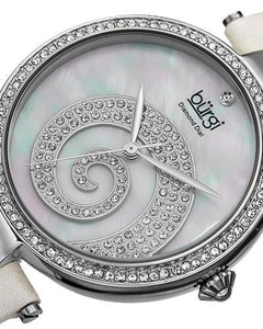 burgi BUR143WT Brand New Quartz Watch with 0.01ctw of Precious Stones - crystal, diamond, and mother of pearl