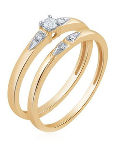 Brand New Ring with 0.1ctw of Precious Stones - diamond and diamond ctr 10K Yellow gold
