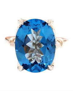 10.62 Carat Natural Topaz 14K Solid Yellow Gold Diamond Ring