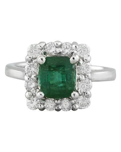 2.60 Carat Emerald 14K White Gold Diamond Ring