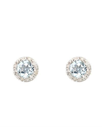 Brand New Earring with 0.84ctw of Precious Stones - aquamarine and diamond 925 Silver sterling silver