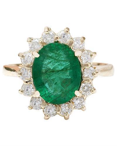 2.83 Carat Natural Emerald 14K Solid Yellow Gold Diamond Ring