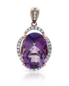 Brand New Pendant with 5.68ctw of Precious Stones - amethyst and diamond 14K Rose gold