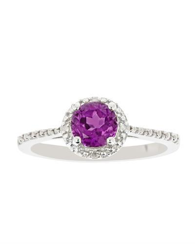 Brand New Ring with 0.71ctw of Precious Stones - amethyst and diamond 925 Silver sterling silver