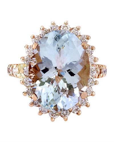 8.88 Carat Natural Aquamarine 14K Solid Rose Gold Diamond Ring
