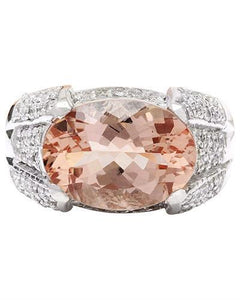 6.95 Carat Natural Morganite 14K Solid White Gold Diamond Ring