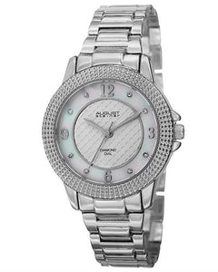 AUGUST Steiner AS8154SS Brand New Japan Quartz Watch with 0.04ctw of Precious Stones - diamond and mother of pearl