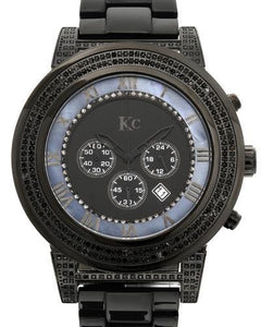 KC Brand New Japan Quartz date Watch with 1.5ctw of Precious Stones - crystal, diamond, and mother of pearl
