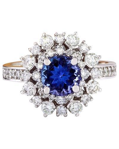 2.50 Carat Natural Tanzanite 14K Solid White Gold Diamond Ring