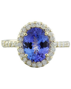 3.24 Carat Tanzanite 14K Yellow Gold Diamond Ring
