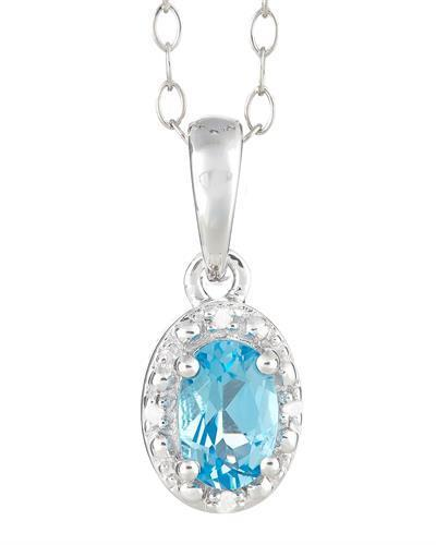 Brand New Necklace with 0.58ctw of Precious Stones - diamond and topaz 925 Silver sterling silver