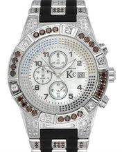 Load image into Gallery viewer, Techno Com by KC Brand New Japan Quartz date Watch with 5ctw of Precious Stones - diamond, diamond, and mother of pearl