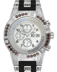 Techno Com by KC Brand New Japan Quartz date Watch with 5ctw of Precious Stones - diamond, diamond, and mother of pearl