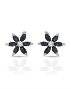Brand New Earring with 1.26ctw of Precious Stones - diamond and sapphire 14K White gold