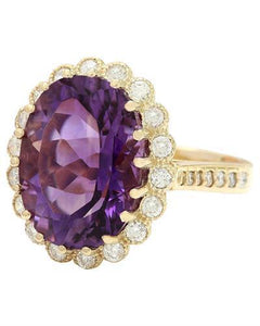 13.19 Carat Natural Amethyst 14K Solid Yellow Gold Diamond Ring
