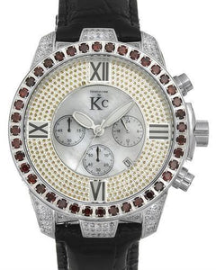 Techno Com by KC Brand New Japan Quartz date Watch with 1.05ctw of Precious Stones - diamond and mother of pearl